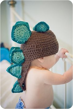 Baby stegosaurus! I made a t-rex hat, but this one is cute! I love the double scales.