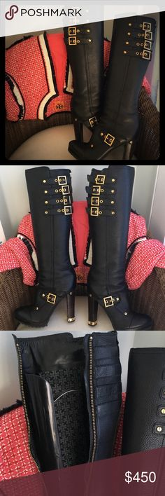 Tory Burch OMG! Boots! Tory Burch Black Knee high pebbled leather boots. Amazing gold hardware! Great almost new condition! Its high but the lug bottom makes it so comfortable! 6 Tory Burch Shoes Heeled Boots