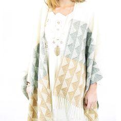 Local > Tuscon Poncho Jaquard Wool Natural at New High (M)art