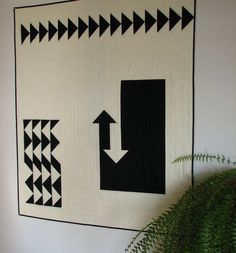 """New Directions"" Black and White Modern Quilt Art Quilt by CentralFabrications, $200.00"