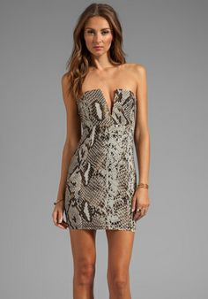 NOOKIE Python V-Front Bustier Dress in Snakeskin - New