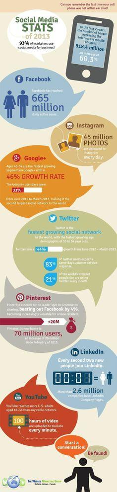 Social Media Statistieken in 2013: Welk Platform groeit het snelst?   Social Media Statistics of 2013: Which platform is growing the fastest? [Infographic] #socialmedia #smm #marketing