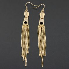 LOVEY GOLD ZIPPER EARRINGS-gold, zipper, earring