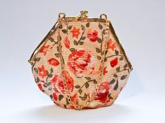 Beige Flowers  bag. Contemporary ceramics . Traveling inspired, vintage  look, colored porcelain bag.  Materials: colored porcelain, luster, metal chain.  Size: 20cm x 8cm x 20cm by Gaia Smith