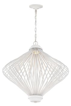 Kellen 2-Light LED Chandelier by Feiss: Represents a beautiful marriage of art and light. A series of steel rods in a new Plaster White finish cleverly compose the unique shade of this cylindrical fixture and each rod has a soft, fluid wave, adding to the sculptural, time-worn effect. A clear optic crystal LED beautifully diffuses and distributes the light downward and has warm-on-dim technology. Will complement your modern decor in your dining room, living room, or bedroom.