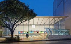 Apple Store Omotesando  fond et loge eclairés et colorés