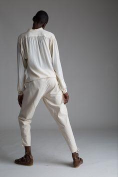 Vintage Yves Saint Laurent Silk Blouse, Drawstring Pants. Designer Clothing Dark Minimal Street Style Fashion