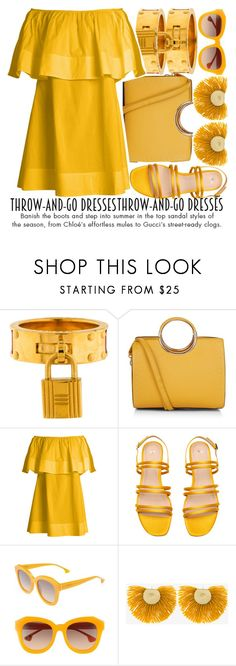 """EASY OUTFITTING: THROW-AND-GO DRESSES"" by noraaaaaaaaa ❤ liked on Polyvore featuring Hermès, Apiece Apart, Alice + Olivia, Katerina Makriyianni and throwandgodresses"