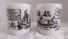2 Vintage #DavyCrockett Glass Coffee Mugs Childs 1950's Hazel Atlas Western Ware