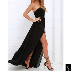 Lulu's strapless formal dress SOLD OUT ONLINE Lulu's strapless maxi dress in black. Good for prom, weddings, formal events. SOLD OUT ONLINE. new with the tag attached. Size small: could fit 2-4. No trades. Reasonable offers accepted :) I can ship next day as well!  Lulu's Dresses