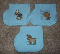 Set of 3 Baby Burp Cloths with Embroidered Baby by NannysKeepsakes, $15.00