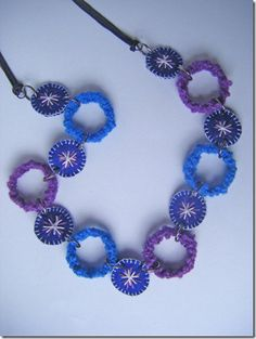 Cover plastic bottle rings with yarn for fun jewelry