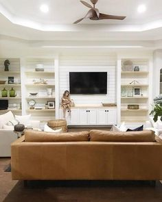 Family room design – Home Decor Interior Designs Living Room Without Fireplace, Living Room Tv, Home And Living, Living Room Cabinets, Dining Room, Tan Sofa, Couch, Built In Shelves Living Room, Built In Wall Units