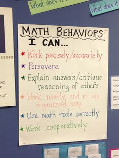 Blog post about explicitly teaching math behaviors...Common Core math practice standards