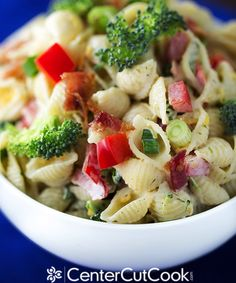 Easy Ranch Pasta Salad with bacon, broccoli, and red pepper......made this, really good, added grilled chicken & zucchini strips.