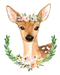 Adorable watercolor deer from the Meadowland Collection adorned with a colorful flower crown of blushes, pinks, greens and blues and surrounded by a laurel of greenery and florals