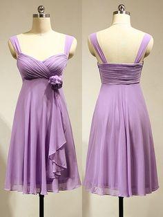 Empire Chiffon Short/Mini Flower(s) Lavender Fashion Bridesmaid Dress - dressesofgirl.com