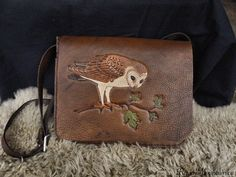 Leather Tooling, Leather Bags, Leather Craft, Hand Stitching, Bag Making, Messenger Bag, Owl, Barn, Handbags
