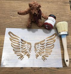Angel Wings Stencil 125 or 190 thickness film Spray Paint Art, Paint Cans, Angel Wings Painting, Daniel And The Lions, Custom Stencils, Craft Stencils, Stencil Designs, Different Types Of Painting, Create Your Own Wallpaper