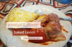 Meatball and Cheese Baked Ravioli1 (24oz) Pkg Frozen Cheese-Filled RavioliNon-Stick Spray1 Can (26oz) Garlic and Herb Spaghetti Sauce1 C Shredded Part-Skim Mozzarella Cheese8 oz Frozen Cooked Meatball