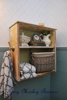 Fussy Monkey Business: Drawer-Turned-Bathroom Shelf