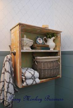 Fussy Monkey Business: Drawer-Turned-Bathroom Shelf