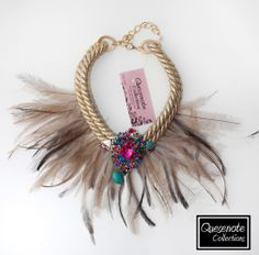 Colección Diamantina Quesenote Collections Fabric Jewelry, Diy Jewelry, Jewelry Accessories, Handmade Jewelry, Fashion Jewelry, Chocker Necklace, Rope Necklace, Collar Necklace, Felt Bracelet