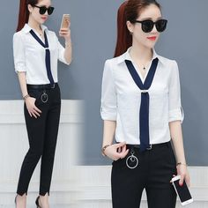 Women stripe Shirts and Lead knot blouses 2017 New fashion able tops Femme turn-down collar long sleeve large sizes white blouse Shirt Blouses, Blouses 2017, Casual Skirt Outfits, Active Wear For Women, Blouse Styles, Ladies Dress Design, Women's Fashion Dresses, New Fashion, Blouses For Women