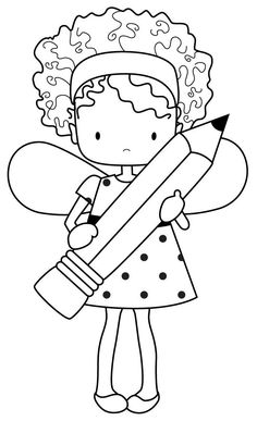 Whimsie Doodles: School Girl With Pencil Digital Stamp Coloring Book Pages, Coloring Sheets, Embroidery Patterns, Hand Embroidery, Machine Embroidery, Copics, Digital Stamps, Coloring Pages For Kids, Free Coloring