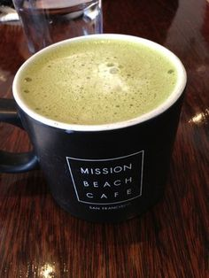 Green tea chai latte at Mission Beach Cafe in San Francisco