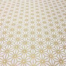 Tissu de coton japonais - motif traditionnel Asanoha or, fond blanc