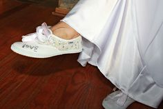 Funky Tomy tekkies bedazzled by my besties as wedding shoes. Who wants high heels when marrying outside. And they danced like a dream. Wedding Shoes, Besties, Wedding Decorations, High Heels, How To Make, Fashion, Tomy, Bhs Wedding Shoes, Moda