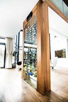 Glass Wine Cellar, Home Wine Cellars, Wine Cellar Design, Home Bar Rooms, House Rooms, Wine Shelves, Wine Storage, Condo Design, House Design