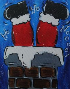 Santa Going Down Chimney Canvas