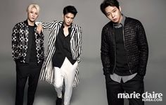JYJ graces the cover of Marie Claire Korea. Jaejoong, Yoochun and Junsu.