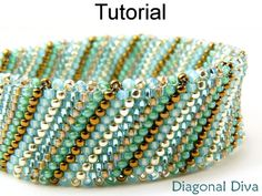 Diagonal Flat Tubular Peyote Stitch Beaded Bracelet Jewelry Making Tutorial Pattern Instructions | Simple Bead Patterns