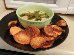 Green Chili Hummus with Lime Flavored Sweet Potato Chips