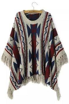 CHICUU - CHICUU Vintage Geometric Print Fringed Poncho Sweater - AdoreWe.com