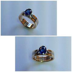 9ct yellow and white gold Kanchanaburi Sapphire and Diamond ring.