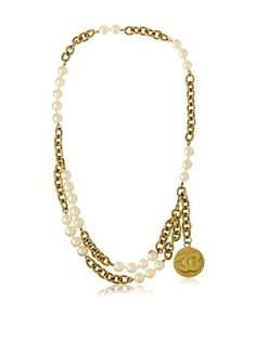 CHANEL Faux Pearl & Chain Necklace/Belt