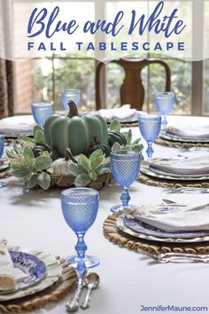 A gorgeous blue and white fall dining room! Get ready for all things fall with this unique and beautiful fall tablescape and fall table centerpieces, share by top Arkansas lifestyle blogger Jennifer Maune.