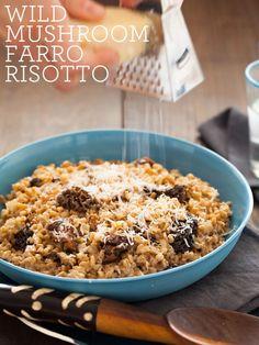 A recipe for a Wild Mushroom Farro Riotto.  By Spoon Fork Bacon.