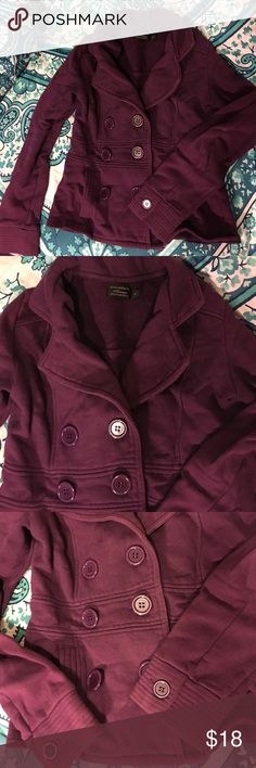 Purple pea coat Lightweight purple peacoat (sweatshirt like material) perfect for spring! I've had this forever it's just too small now. Slightly wrinkled from sitting in my closet but otherwise great condition! Jackets & Coats Pea Coats