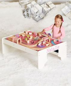 personalized pink fairy train table