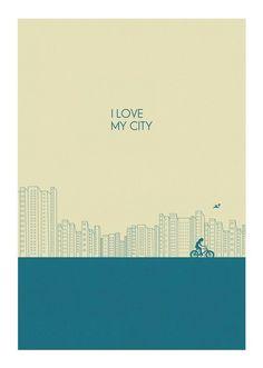 I love my city Print l BLUE by Judykaufmann on Etsy