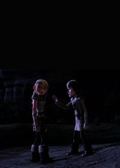 Astrid and Hiccup having a debate.