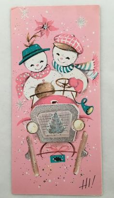 Vintage Pink Christmas Card Mr. & Mrs. Snowman Driving Car Tree Silver Accents  | eBay