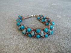 turquoise beaded hemp bracelet