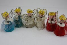 Vintage Angel Ornaments Set of 6 Japan by cybersenor I HAVE THESE!!!