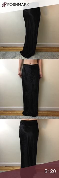 """T by Alexander Wang Black Velvet Maxi Skirt T by Alexander black Velvet Maxi Skirt with a zipper closure and is not lined. Maxi and is Evening wear also- can be worn for either casual or fancy! Waist is not elastic and is a true size small. My hips are 35"""" and this skirt sits on them. I'm 5'5 and don't have heels on In the photo! Worn only once super cute!! T by Alexander Wang Skirts Maxi"""